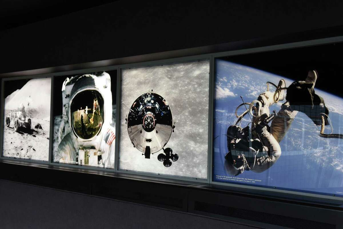 A new exhibit on George Low, NASA administrator and former president of Rensselaer Polytechnic Institute, commemorates the 50th anniversary of moon landing on Tuesday, July 2, 2019, at RPI in Troy, N.Y. The exhibit can be seen on fourth floor of the George M. Low Center for Industrial Innovation at RPI. (Will Waldron/Times Union)