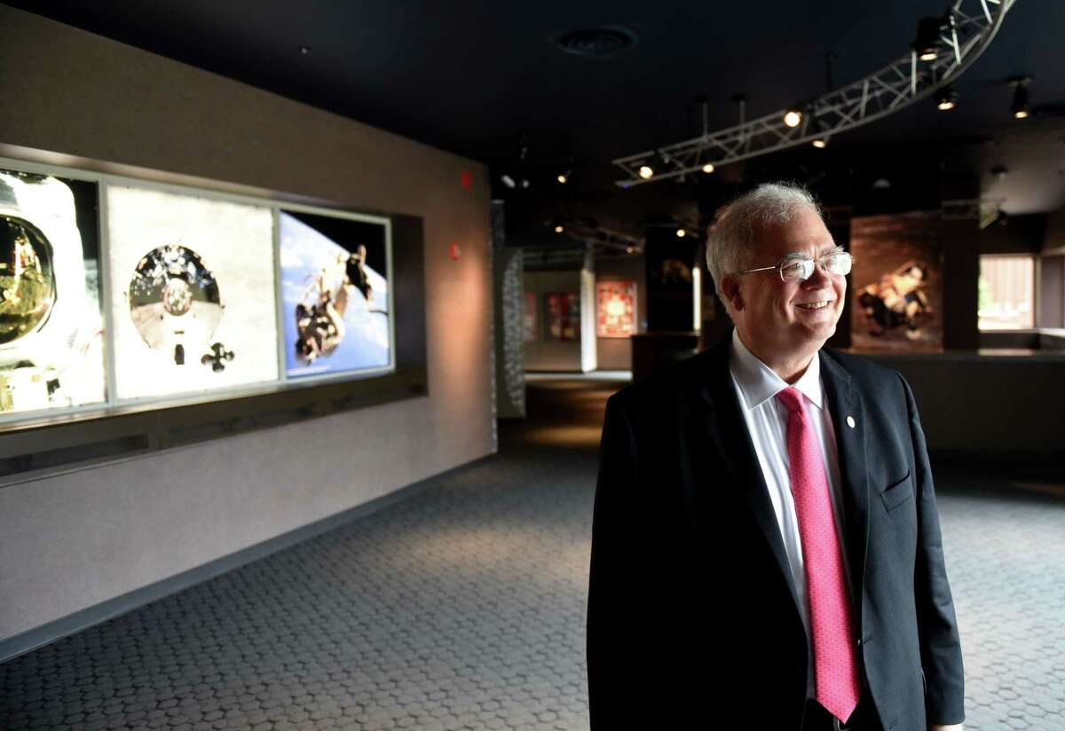 Curt Breneman, dean of the School of Science at Rensselaer Polytechnic Institute, is pictured in a new exhibit on George Low to commemorate the 50th anniversary of moon landing on Tuesday, July 2, 2019, at RPI in Troy, N.Y. George Low was a NASA administrator and former president of the college. (Will Waldron/Times Union)
