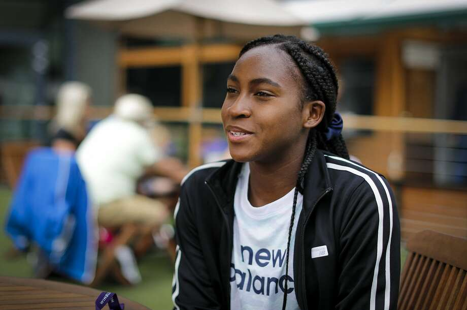 "United States' Cori ""Coco"" Gauff speaks to The Associated Press during the Wimbledon Tennis Championships in London, Tuesday, July 9, 2019. A day after her memorable Wimbledon ended, Coco Gauff already was thinking about coming back. ""Obviously, there's always room for improvement,"" Gauff said in an interview with The Associated Press at the All England Club on Tuesday.(AP Photo/Ben Curtis) Photo: Ben Curtis / Associated Press"