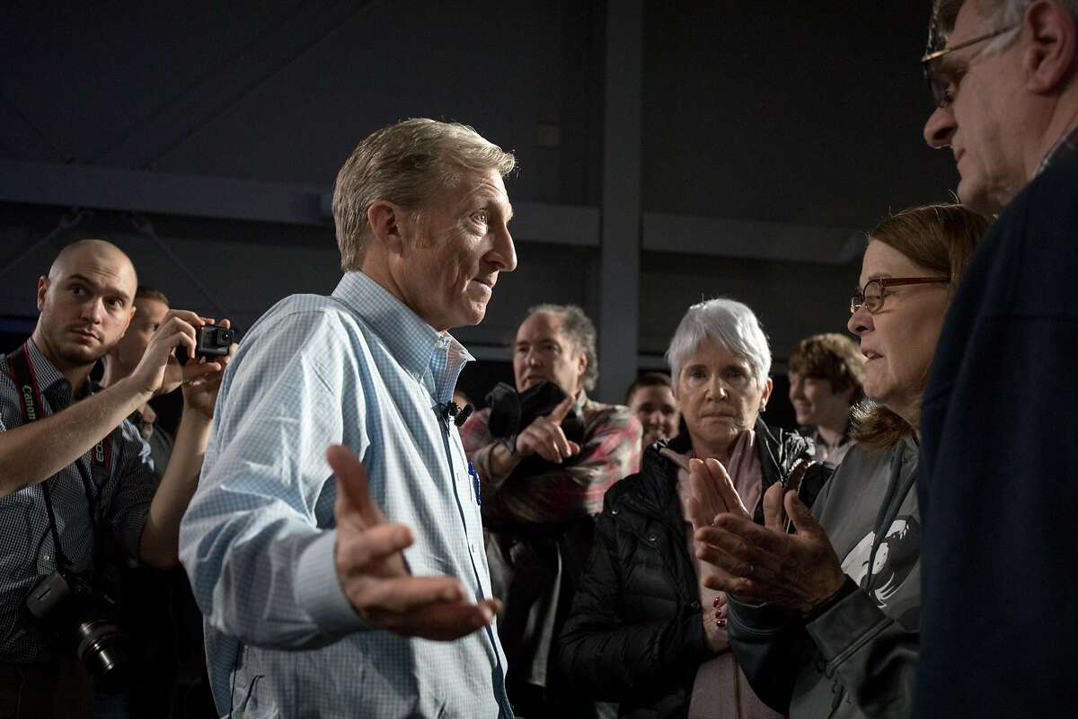 FILE-- The billionaire Tom Steyer, speaks to attendees of a town hall meeting in Ankeny, Iowa, Jan. 9, 2019. Steyer, who toyed with the idea of a Democratic presidential campaign before announcing in January that he would not run, has changed his mind and intends to enter the 2020 contest on July 8, according to multiple people who have been told of his plans. (Rachel Mummey/The New York Times)
