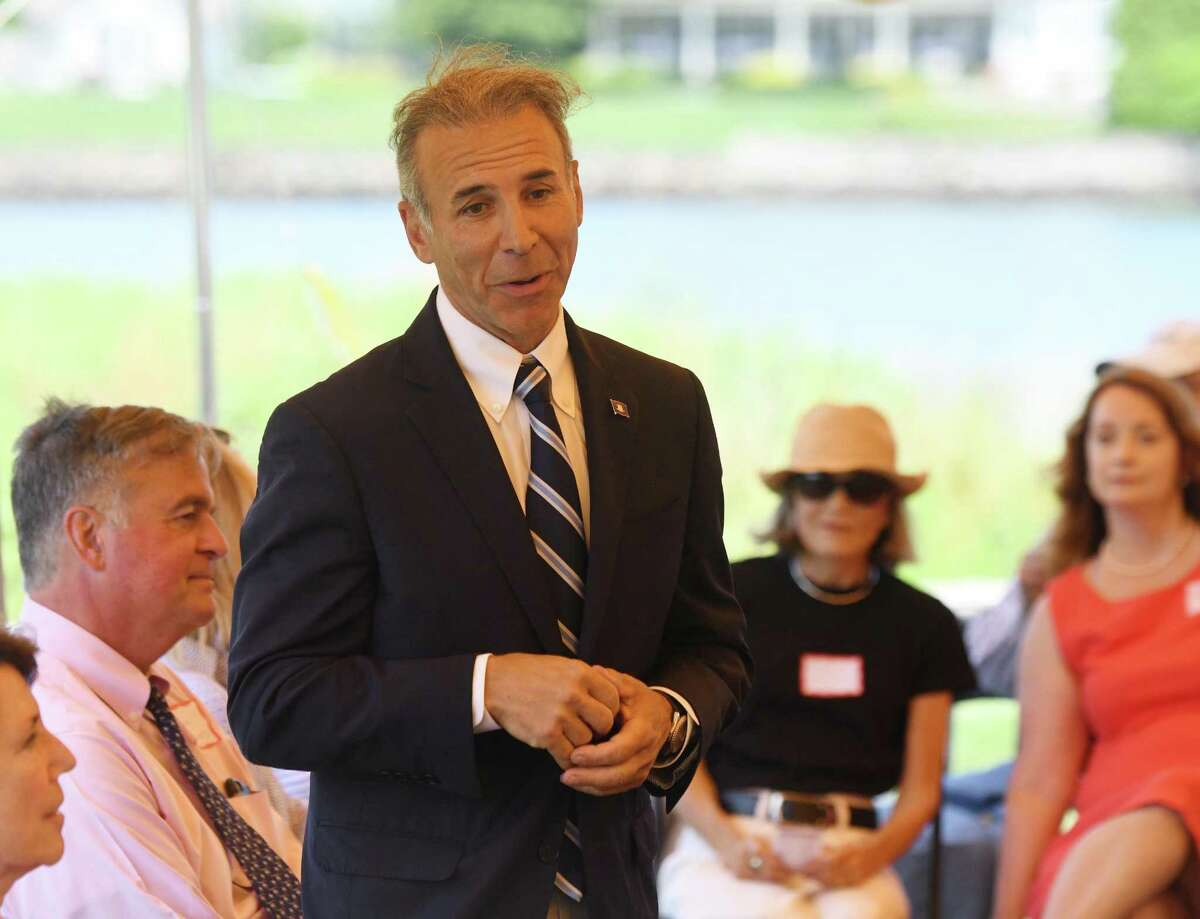 State Rep. Fred Camillo, R-Greenwich, speaks at the annual League of Women Voters legislative picnic at a private residence in the Riverside section of Greenwich, Conn. Tuesday, July 9, 2019. State Sen. Alex Bergstein and State Reps. Livvy Floren, Fred Camillo and Steve Meskers spoke about issues facing the town and state.