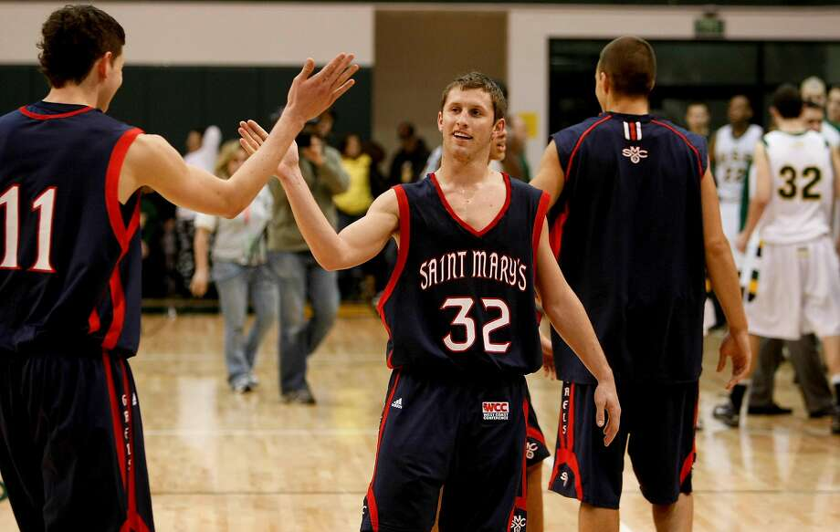 St. Mary's Clint Stiendl (11) and Mickey McConnell (32) celebrate their win as St. Mary's 83-62 in mens basketball in San Francisco, Calif. on Friday January 08, 2010. Photo: Michael Macor / The Chronicle