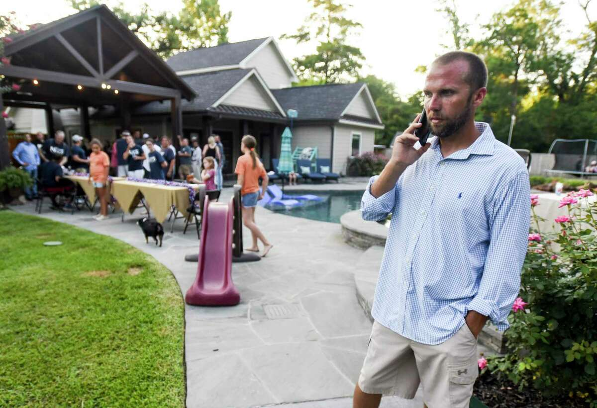 Candidate for Ward 1 Taylor Neild at his house during his watch party Saturday night. Photo taken on Saturday, 06/09/19. Ryan Welch/The Enterprise
