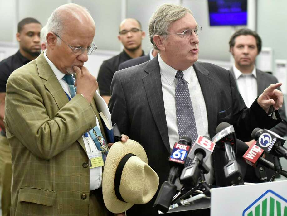 New Haven, Connecticut - Tuesday, July 09, 2019: New Haven Corporation Counsel John Rose, Jr., left, with Attorney Hugh Manke of the law offices of Updike, Kelly and Spellacy who represents the Tweed New Haven Airport Authority during a press conference Tuesday afternoon at the Tweed-New Haven Airport, responds to the U.S. District Court ruling issued earlier Tuesday regarding runway improvements at Tweed - New Haven Airport. THIS AFTERNOON'S press conference will be held in the passenger terminal at Tweed; members of the press corps are invited to a Photo: Peter Hvizdak / Hearst Connecticut Media / New Haven Register