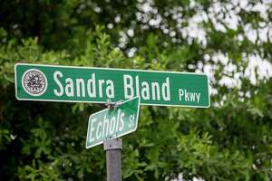 The Sandra Bland Parkway stands down the road from the gates of Prairie View A&M, on Wednesday, June 26, 2019, in Prairie View.