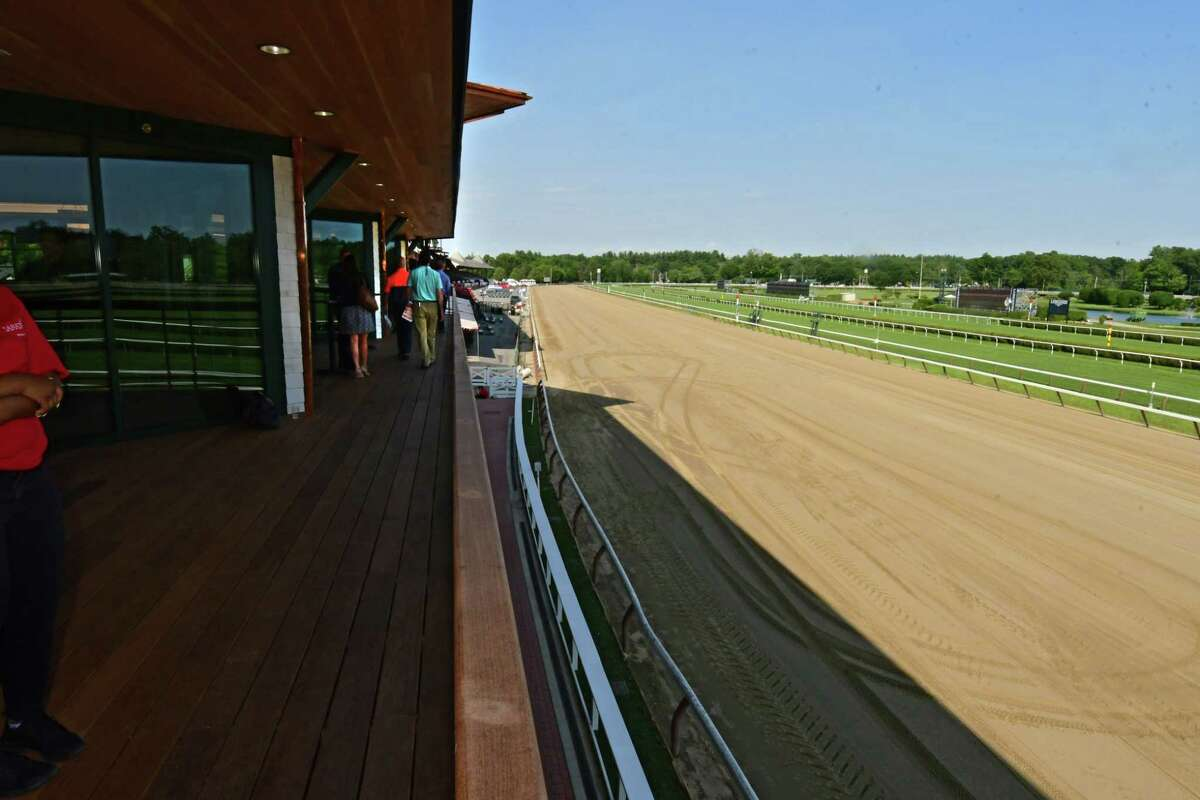 View from the second floor, Legends, of Saratoga Race Course's newest hospitality area: the 1863 Club on Tuesday, July 9, 2019 in Saratoga Springs, N.Y. (Lori Van Buren/Times Union)