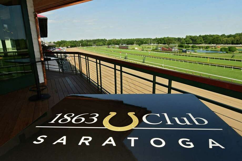 View from one of the private suites on the third floor at Saratoga Race Course's newest hospitality area: the 1863 Club on Tuesday, July 9, 2019 in Saratoga Springs, N.Y. (Lori Van Buren/Times Union) Photo: Lori Van Buren, Albany Times Union / 40047440A