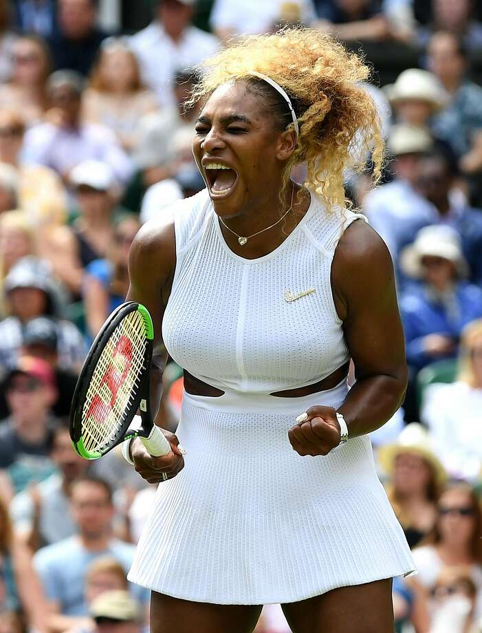 Serena Williams survived a rolled ankle and Alison Riske to make the semifinals of Wimbledon. Next up: Barbora Strycova on Thursday. Photo: Mike Hewitt / Getty Images