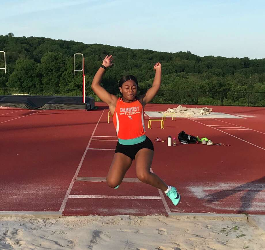 Danbury 8th grader Kimberleigh Williams took second in the long jump at the middle school state championships, held last month. Photo: Contributed Photo