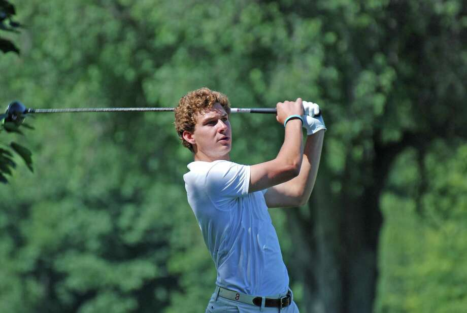 New Canaan's Gunnar Granito of Woodway Country Club wacthes his tee shot during the Connecticut Junior Amatuer on Tuesday at Watertown Golf Club in Watertown. Photo: CSGA / Contributed Photo / Greenwich Time Contributed