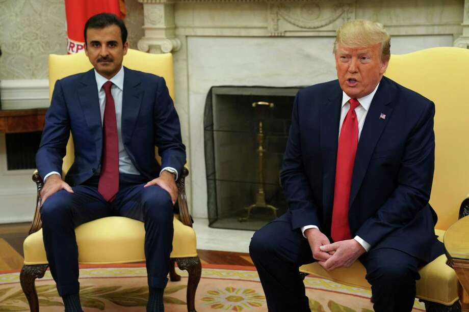 WASHINGTON, DC - JULY 09: U.S. President Donald Trump and Qatari Emir Sheikh Tamim bin Hamad Al Thani during an Oval Office meeting at the White House July 9, 2019 in Washington, DC. The two leaders held a bilateral meeting to discuss regional issues. (Photo by Alex Wong/Getty Images) Photo: Alex Wong / 2019 Getty Images