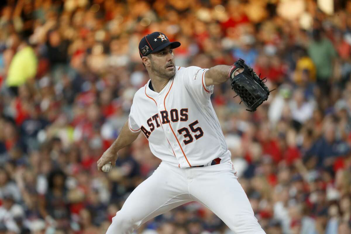 American League starting pitcher Justin Verlander, of the Houston Astros, throws during the first inning of the MLB baseball All-Star Game against the National League, Tuesday, July 9, 2019, in Cleveland. (AP Photo/John Minchillo)
