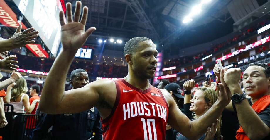 PHOTOS: Rockets game-by-game  Houston Rockets guard Eric Gordon (10) walks off the court after game 5 of the NBA playoffs at theToyota Center, in Houston, Wednesday, April 24, 2019. >>>See how the Rockets have fared so far this season ...  Photo: Karen Warren/Staff Photographer