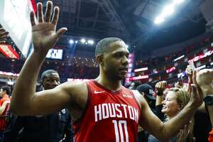 Houston Rockets guard Eric Gordon (10) walks off the court after game 5 of the NBA playoffs at theToyota Center, in Houston, Wednesday, April 24, 2019.