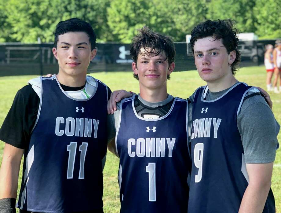 New Canaan's Justin Wietfeldt (11), Jeffrey Riccardelli  (1) and Liam Griffiths (9) were part of the CONNY lacrosse highlight team, which competed in the Under Armour All-America Weekend in Baltimore, Md., June 28-20, 2019. Photo: Contributed / Contributed