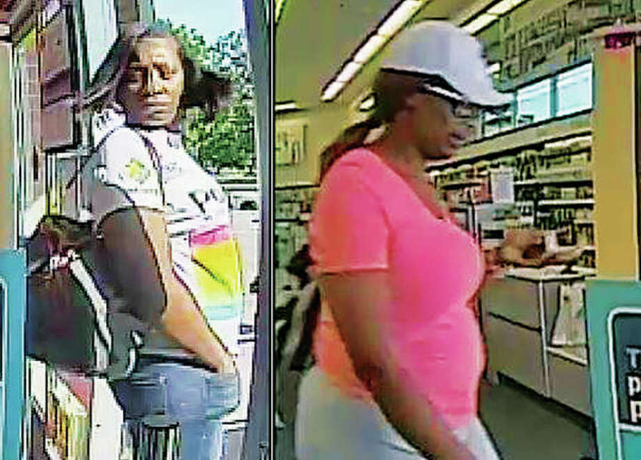 This compilation of surveillance images shows two women to whom police want to talk as they explore the theft last week of more than $2,600 in perfume. Photo: Morgan-Scott Crime Stoppers