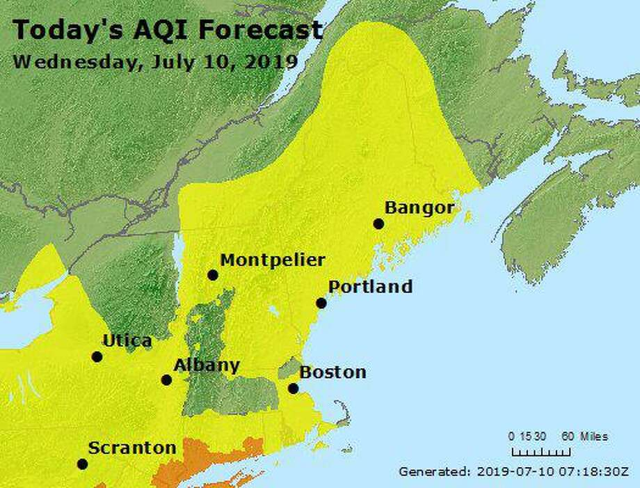 Air quality index for Wednesday Photo: Connecticut Department Of Energy And Environmental Protection