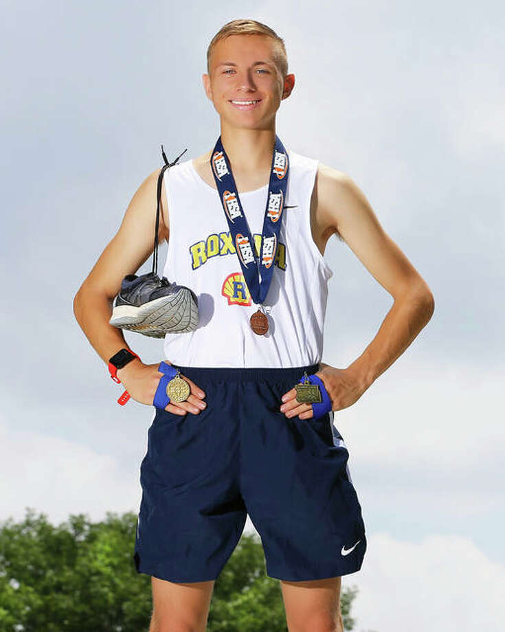 Roxana's Cree Stumpf, an SIUE recruit and the first all-stater for the Shells' program, is the 2018 Telegraph Small-Schools Boys Cross Country Runner of the Year. Photo: Billy Hurst / For The Telegraph
