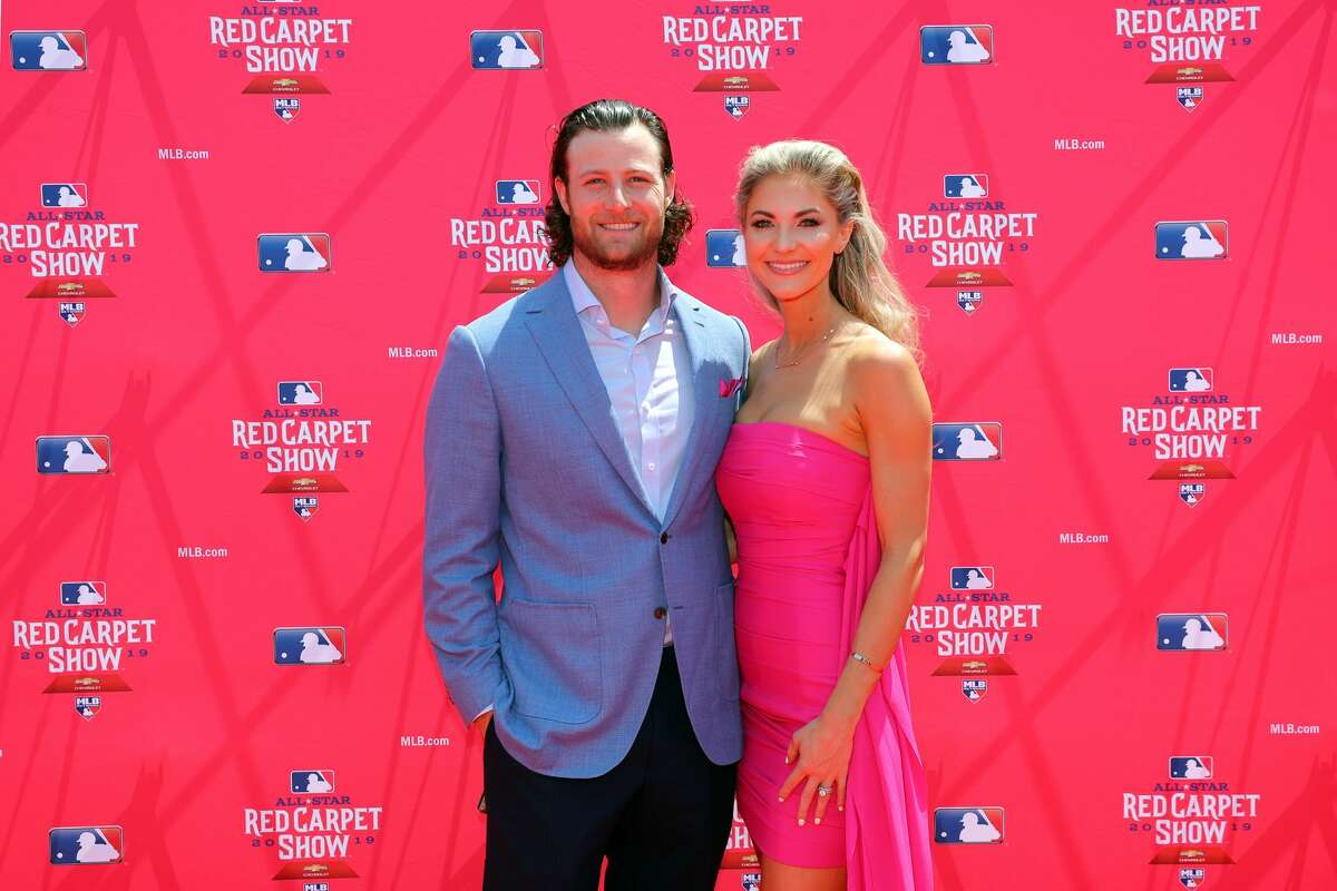 CLEVELAND, OH - JULY 09: Gerrit Cole #45 of the Houston Astros poses with his wife during the MLB Red Carpet Show presented by Chevrolet at Progressive Field on Tuesday, July 9, 2019 in Cleveland, Ohio. (Photo by Alex Trautwig/MLB Photos via Getty Images)