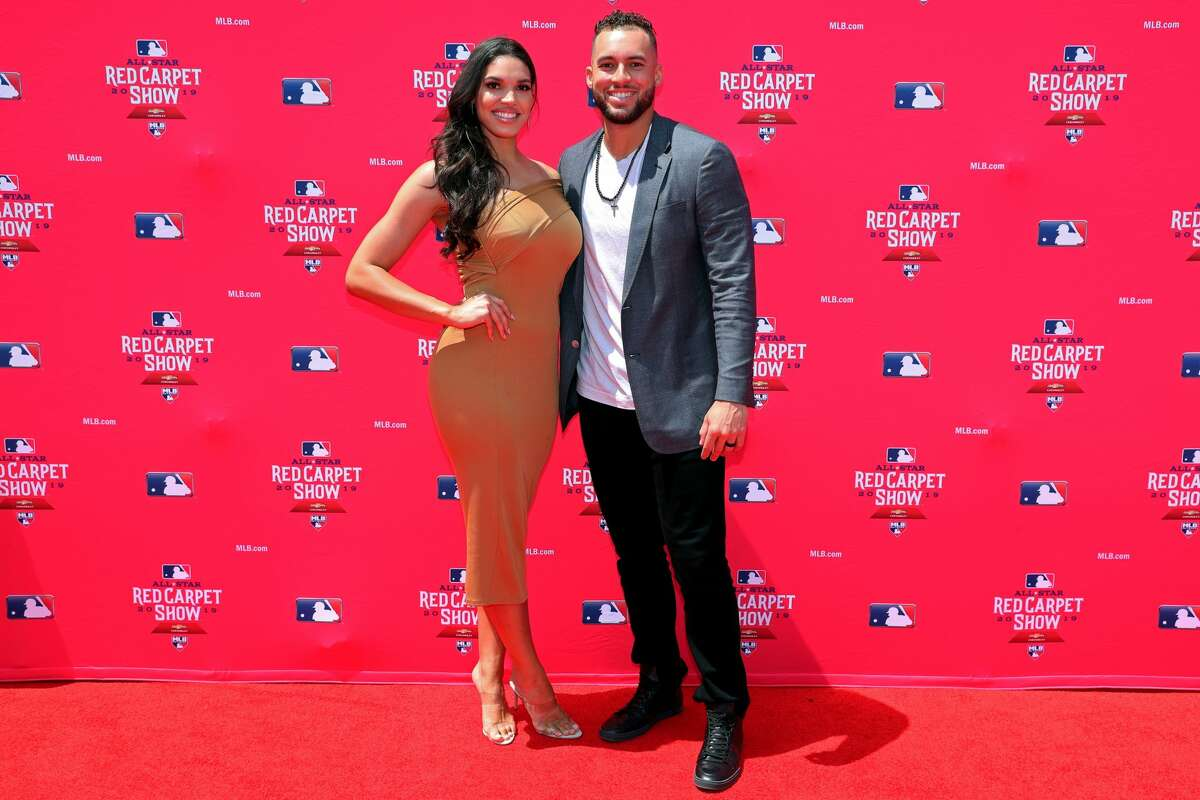 CLEVELAND, OH - JULY 09: George Springer #4 of the Houston Astros poses for a photo with his girlfriend Charlise Castro during the MLB Red Carpet Show presented by Chevrolet at Progressive Field on Tuesday, July 9, 2019 in Cleveland, Ohio. (Photo by Adam Glanzman/MLB Photos via Getty Images)