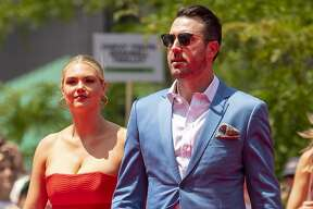 CLEVELAND, OH - JULY 09: Justin Verlander #35 of the Boston Red Sox walks the red carpet with his wife Kate Upton during the 2019 Major League Baseball All-Star Game Red Carpet event at Progressive Field on July 9, 2019 in Cleveland, Ohio. (Photo by Billie Weiss/Boston Red Sox/Getty Images)
