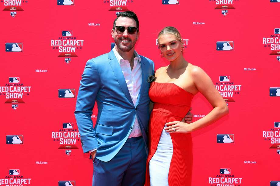 CLEVELAND, OH - JULY 09:  Justin Verlander #35 of the Houston Astros poses for a photo with his wife Kate Upton during the MLB Red Carpet Show presented by Chevrolet at Progressive Field on Tuesday, July 9, 2019 in Cleveland, Ohio. (Photo by Adam Glanzman/MLB Photos via Getty Images) Photo: Adam Glanzman/MLB Photos Via Getty Images
