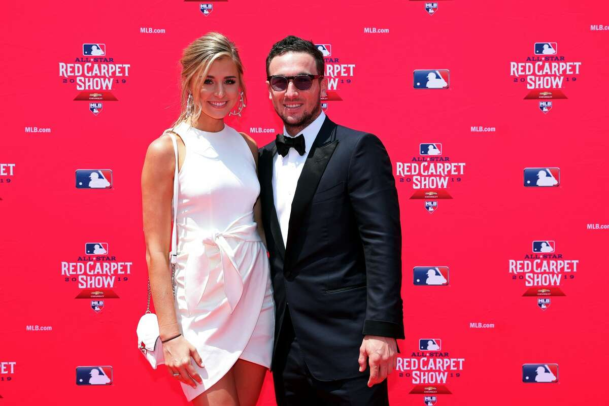 Alex Bregman and then-fiancee Reagan Howard on the red carpet before the 2019 All-Star Game in Cleveland, Ohio.
