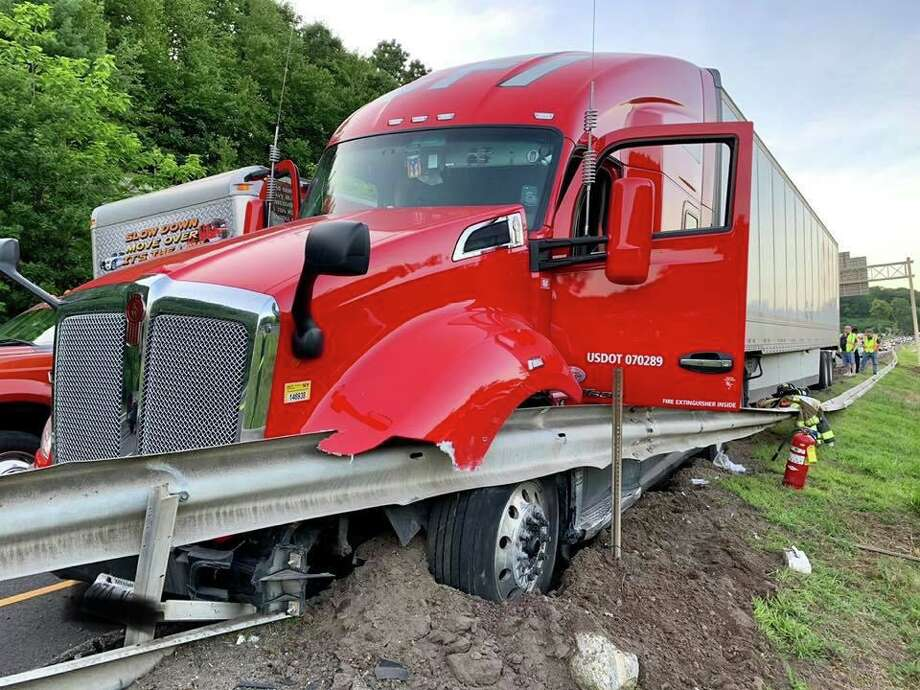 The driver of a tractor trailer was injured after a Tuesday night collision on Route 8 southbound near exit 20. Photo: Courtesy Of The Citizens' Engine Co. No. 2 Facebook Page