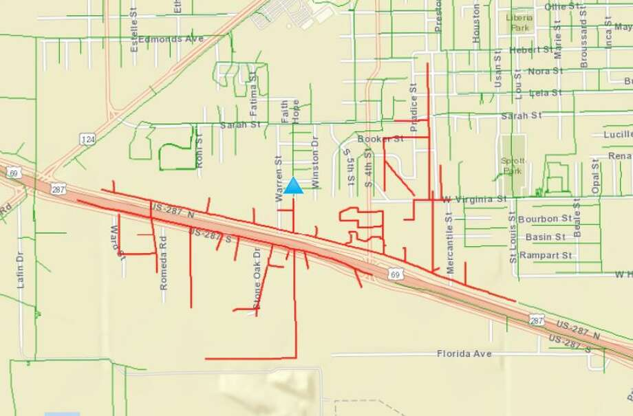 Photo: Entergy Texas outage map
