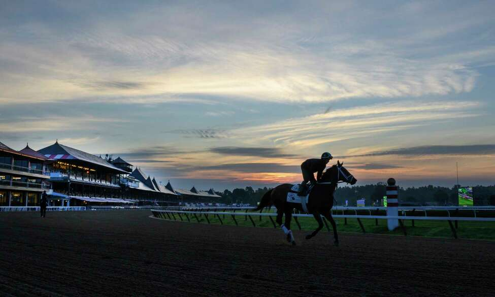 A horse gallops goes out for exercise as the sun rises on the Saratoga Race Course Wednesday, July 10, 2019 in Saratoga Springs, N.Y. The 2019 meeting of the Saratoga Race Course begins July 11th. Special to the Times Union by Skip Dickstein
