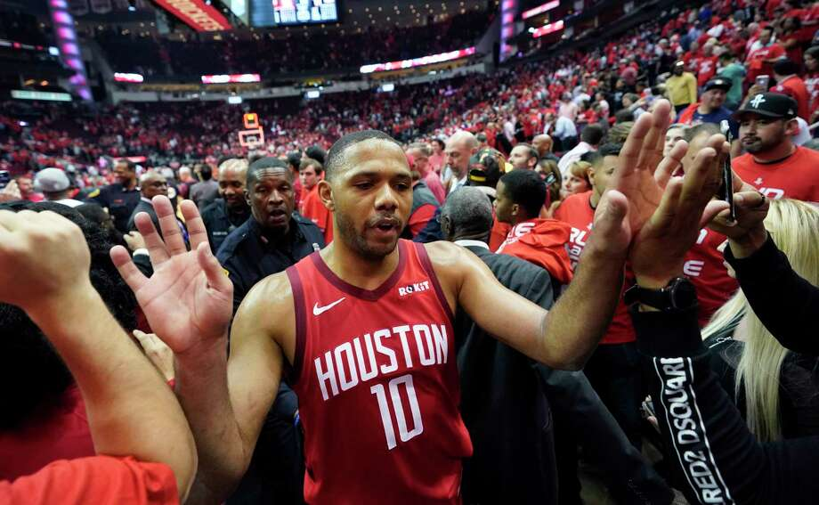 Houston Rockets guard Eric Gordon (10) is greeted by fans after the team's win over Utah Jazz in Game 5 of an NBA basketball playoff series, in Houston, Wednesday, April 24, 2019. Houston won 100-93. (AP Photo/David J. Phillip) Photo: David J. Phillip, Associated Press / Copyright 2019 The Associated Press. All rights reserved.