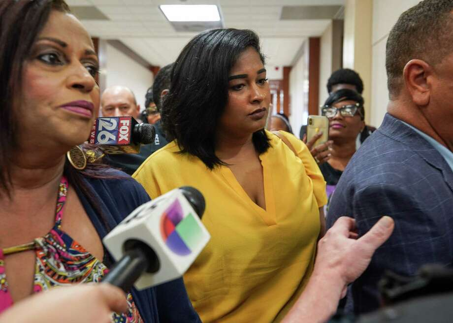 Brittany Bowens, mother of Maleah Davis, exits the courtroom after Derion Vence's arraignment was reset at the Harris County Criminal Justice Center Wednesday, July 10, 2019, in Houston. Vence has been charged in the Maleah Davis case. Davis' body was found mutilated on the side of a freeway in Arkansas in May. Photo: Godofredo A. Vásquez, Staff Photographer / 2019 Houston Chronicle