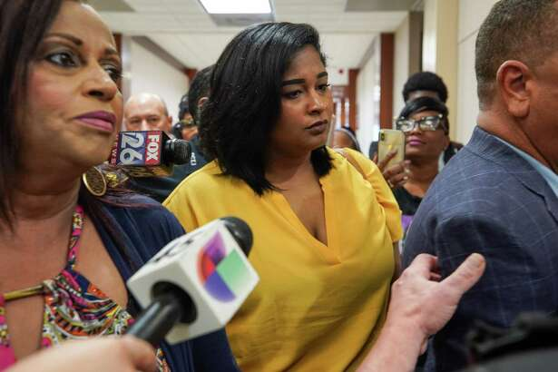 Brittany Bowens, mother of Maleah Davis, exits the courtroom after Derion Vence's arraignment was reset at the Harris County Criminal Justice Center Wednesday, July 10, 2019, in Houston. Vence has been charged in the Maleah Davis case. Davis' body was found mutilated on the side of a freeway in Arkansas in May.