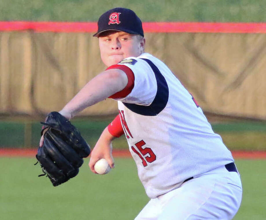Adam Stilts drove in the only run he would need to deliver Alton Legion Post 126 a 1-0 victory Tuesday night in Highland. Stilts, shown in a start earlier this season, turned in an another brilliant pitching start with his third successive shutout. Photo: Greg Shashack / The Telegraph