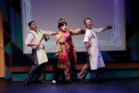 """Osiris Hart, center, of Friendswood performs with Russell Zavalla, left, and Pin Lim in """"Thoroughly Modern Millie"""" at COM Theatre at College of the Mainland in Texas City. Before graduating from Clear Springs High School in 2014, Hart was nominated twice for Tommy Tune Awards. Home from Georgia's Savannah College of Art and Design until January, Hart says, """"I thought I would do this one show, but I found out how much I really, really miss musical theater; so hopefully I will do more shows while I'm here."""""""