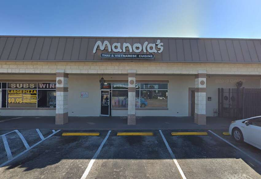 Manola's Thai & Vietnamese Cuisine:7212 Blanco Road #12 Date: 1/04/2019Score:75 Highlights:Residential grade pesticide in kitchen. Observed employee handle raw animal food then handle ready-to-eat foods without washing hands in between. Observed raw animal foods improperly stored in the reach-in cooler (chicken over beef, beef over eggs). Employee handling ready-to-eat foods with their bare hands. Rice scoop stored in bin of room temperature water. Bowl being used as a scoop in the bulk rice bin.