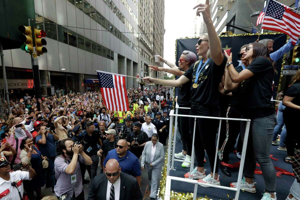 The U.S. women's soccer team, including Megan Rapinoe, far left on float, is celebrated with a parade along the Canyon of Heroes, Wednesday, July 10, 2019. in New York. The U.S. national team beat the Netherlands 2-0 to capture a record fourth Women's World Cup title. Wednesday, July 10, 2019.