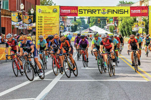 Cyclists race at last year's Rotary Criterium Festival, named 2018 Best Festival in six counties by the Great Rivers & Routes Tourism Bureau of Southwest Illinois. Now entering its tenth year, TheBANK of Edwardsville >>> Busey Bank Rotary Criterium is a series of high-speed bicycle races that hosts 250 to 350 cyclists from 12 states.