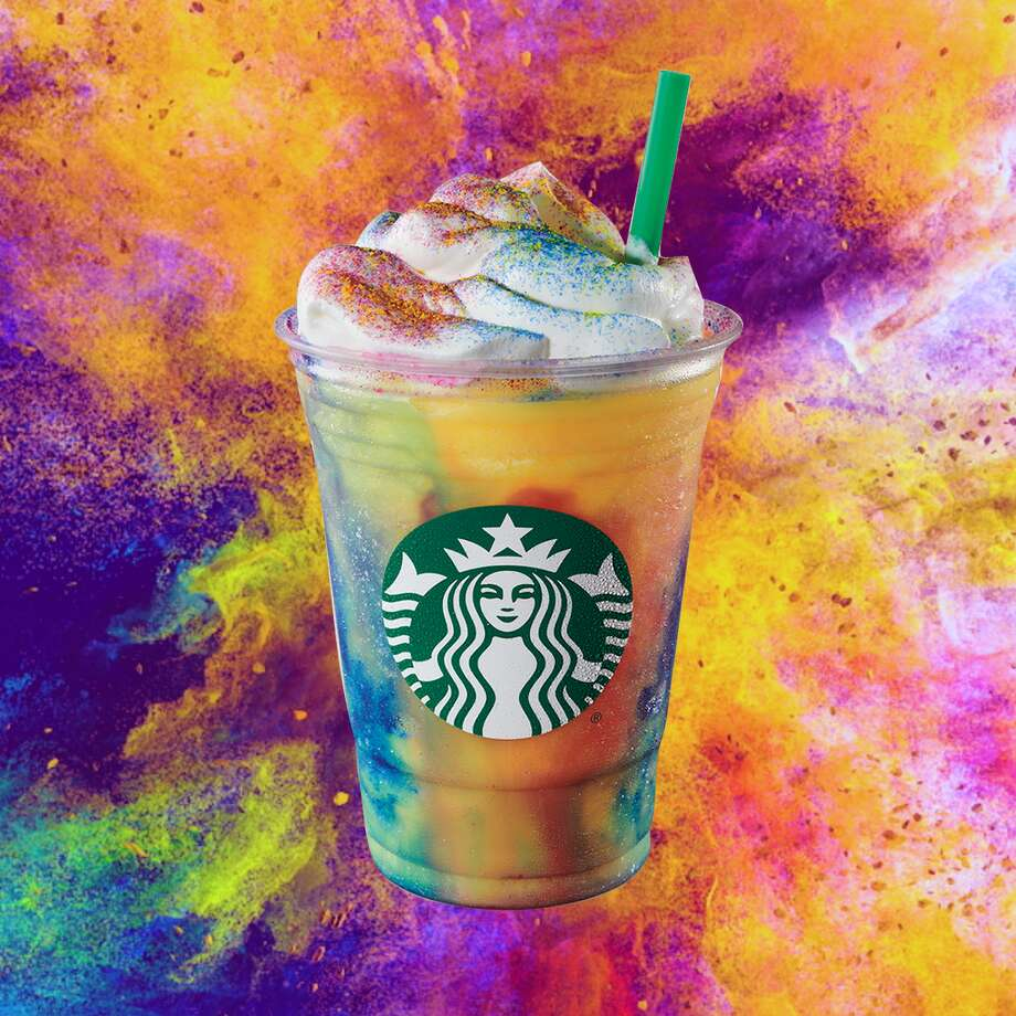 The Tie-Dye Frappucino from Starbucks is available for a limited time starting July 10, 2019. Photo: Starbucks