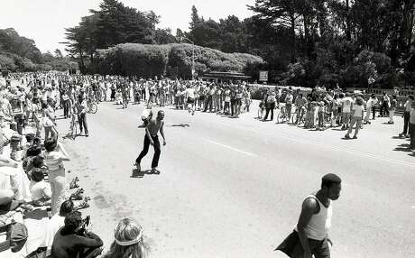 July 28, 1979: Skaters congregate in Golden Gate Park during the peak of roller skating in San Francisco. Photo: John Storey / The Chronicle 1979
