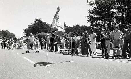July 28, 1979: A skater performs for the crowd in Golden Gate Park during the peak of roller skating in San Francisco. Photo: John Storey / The Chronicle 1979