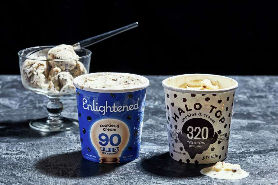 Halo Top placed 15th out of 15 in a cookies and cream ice cream taste test. Enlightened finished 14th. Photo: Photo By Stacy Zarin Goldberg For The Washington Post. / For The Washington Post