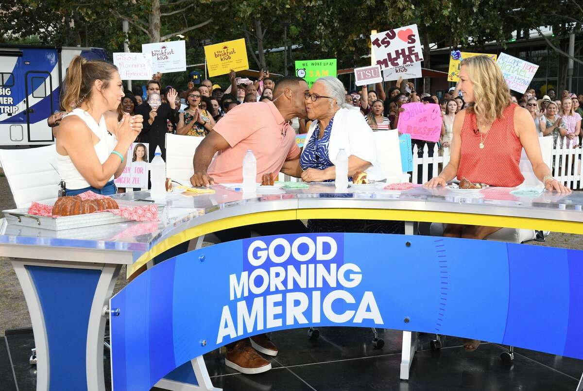 """The """"GMA Summer Road Trip"""" tour with Houston native Michael Strahan, entertainment anchor Lara Spencer and weather anchor Ginger Zee broadcasted from downtown's Discovery Green Wednesday. They were joined by Michael Strahan's mother, Louise Strahan."""