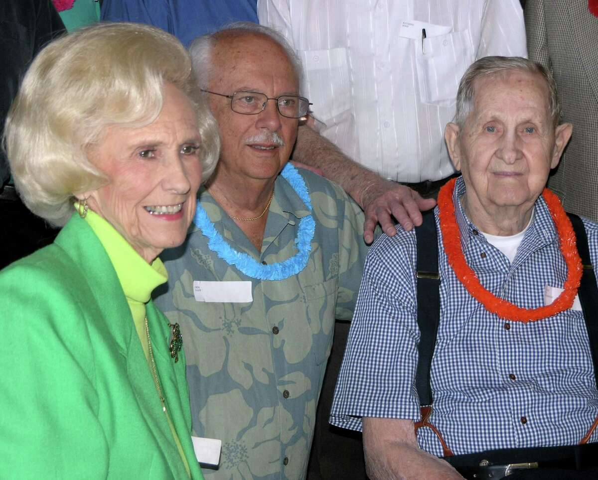 Patricia Riley with classmates classmates Don Napp and Coach Ned Thompson at the Pasadena High class reunion of 1947, celebrating 60 years.