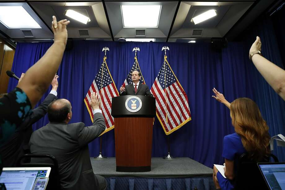 Labor Secretary Alex Acosta calls on a reporter to ask a question during a news conference at the Department of Labor, Wednesday, July 10, 2019, in Washington. (AP Photo/Alex Brandon) Photo: Alex Brandon, Associated Press