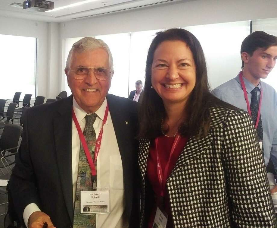 """Harrison """"Jack"""" Schmitt, one of the final two people to walk on the Moon on Apollo 17, meets with New Canaan's Michelle Hanlon, one of the founders of For All Moonkind. Photo: Contributed Photo / For All Moonkind / Connecticut Post"""