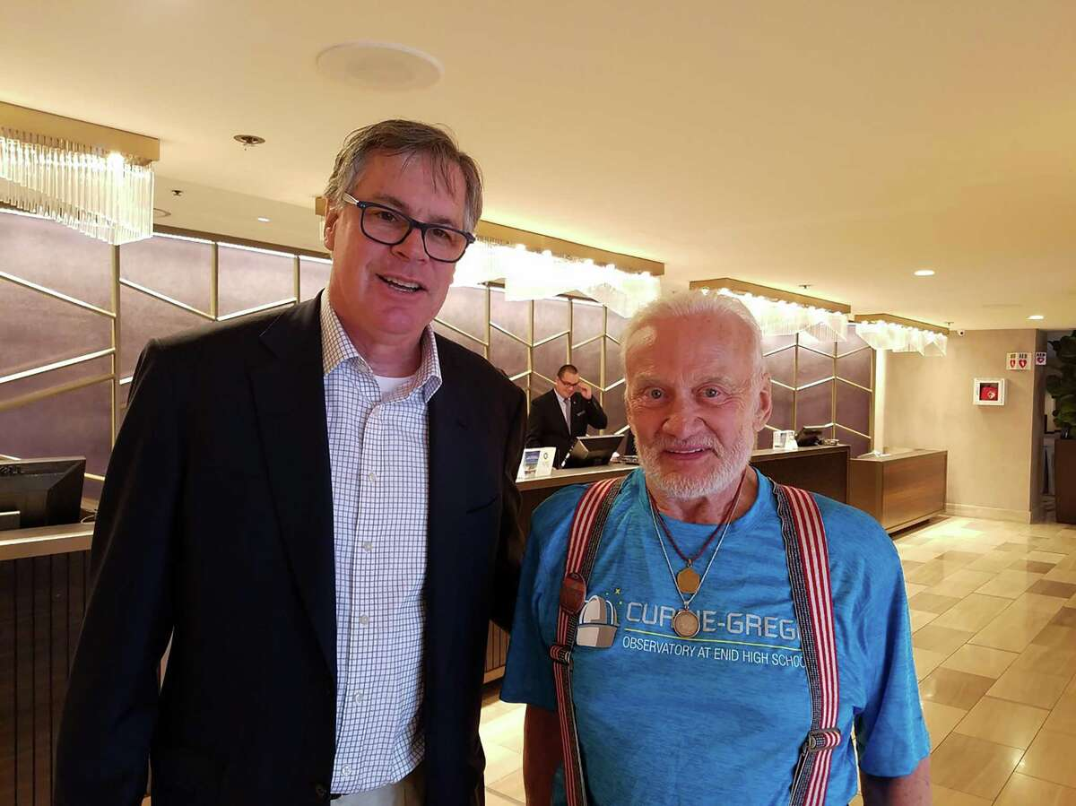 Tim Hanlon, who started New Canaan-based For All Moonkind with his wife, Michelle, to preserve historic sites on the Moon, with Apollo 11 astronaut Buzz Aldrin.