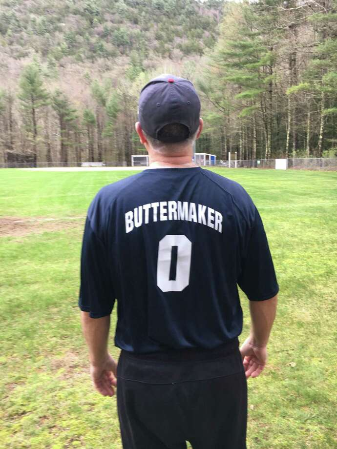 "Coach Bill Winchester, also known as ""Buttermaker"" after the Walter Matthau character in the 1976 movie, ""The Bad News Bears"" wore his lucky shirt to every game this season with the Barkhamsted Braves. The team ended their season by winnning the AA championship game with a 16-0 record. Photo: Contributed Photo /"
