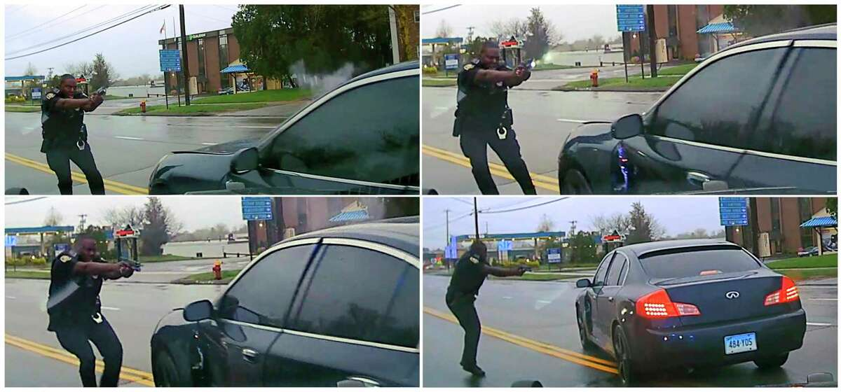 This sequential combination of images from police dash camera video released Friday, May 3, 2019, by the Hartford State's Attorney shows, from top left, Police Officer Layau Eulizier pointing his weapon at a car being driven at him by Anthony Jose Vega Cruz during an attempted traffic stop on April 20 in Wethersfield, Conn. Eulizier shot through the windshield, striking Vega Cruz, of Wethersfield, who died two days later at a hospital.