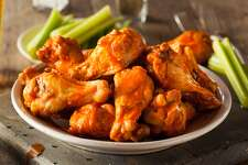 Buffalo, NY: Buffalo wings Buffalo wings are not actually made from buffalo, but are instead so named because they were invented in the town of Buffalo, N.Y. The origin of buffalo wings can be traced back to 1964 when the owners of a Buffalo-area bar decided to fry chicken wings and serve them with hot sauce and blue cheese. The name comes from the method of preparation-and not at all from the animal. This slideshow was first published on theStacker.com